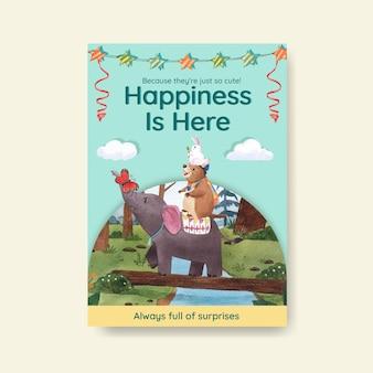 Poster sjabloon met vrolijke dieren concept aquarel illustratie