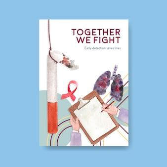 Poster sjabloon met wereld kanker dag conceptontwerp voor marketing en adverteren aquarel vectorillustratie.
