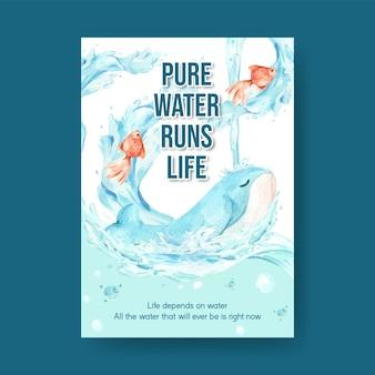 Poster sjabloon met wereld water dag conceptontwerp voor adverteren en marketing aquarel illustratie