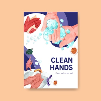 Poster sjabloon met wereldwijde handwas dag conceptontwerp voor brochure en folder aquarel