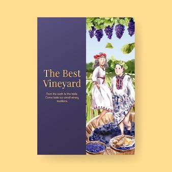 Poster sjabloon met wijnboerderij conceptontwerp voor adverteren en marketing aquarel illustratie.