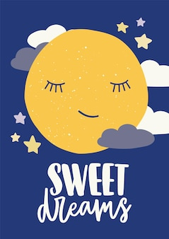 Poster sjabloon voor kinderkamer met schattige slapende cartoon maan met gesloten ogen