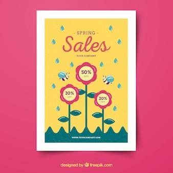 Poster sjabloon voor lente verkoop met bloemen en bijen