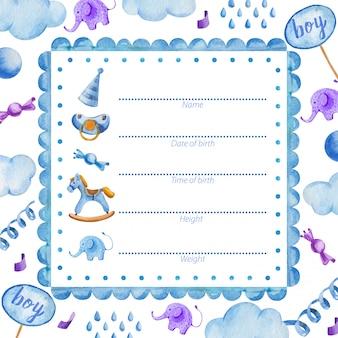 Poster sjabloon voor pasgeboren babyjongen baby shower