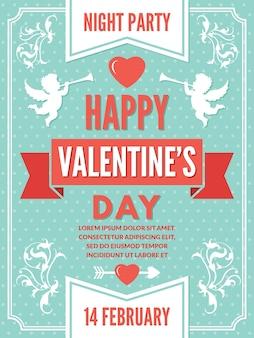 Poster sjabloon voor valentijnsdag. achtergrondillustraties van liefdesymbolen. valentijnsdag romantische kaartdecoratie