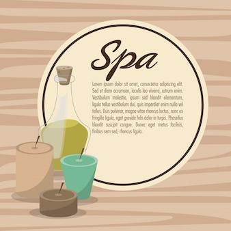 Poster spa therapie lotion olie kruiden kaarsen Premium Vector