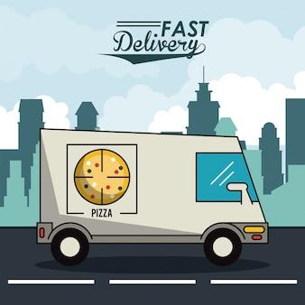 Poster stadslandschap met snelle levering in pizza vrachtwagen