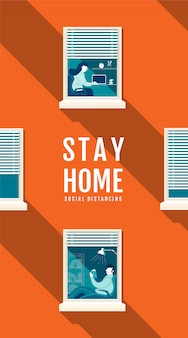 Poster stay home social distancing concept, protection covid-19 virus, people stay home, illustratie