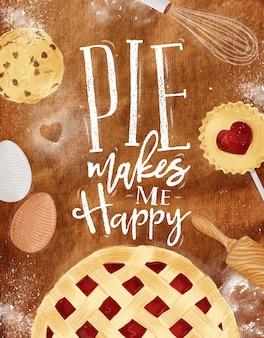 Poster taart met cookie, ei, zwaaien