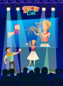 Poster toont katten. cartoon mensen met huisdier.