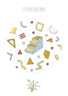 Poster uit de jaren 80-90 in abstracte stijl met geometrische vormen en trappen