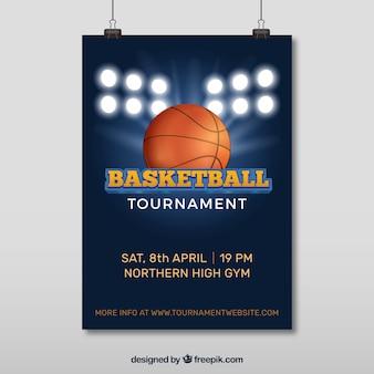 Poster van basketbaltoernooi met schijnwerpers en bal