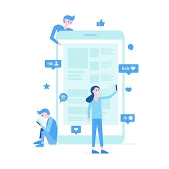 Poster van communicatie met sociale media
