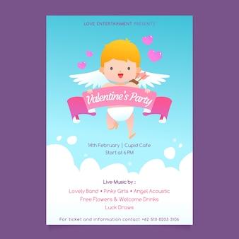 Poster van cupido voor valentijnsdag
