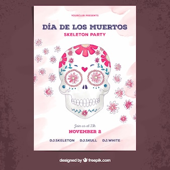 Poster van de dag van de dag met handgetekende schedel