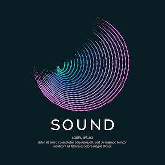 Poster van de geluidsgolf. vector illustratie muziek op donkere achtergrond.