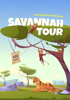 Poster van de savannah-tour