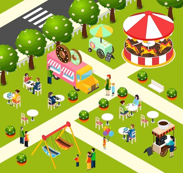 Poster van de vrachtwagen de isometrische samenstelling van het straatvoedsel