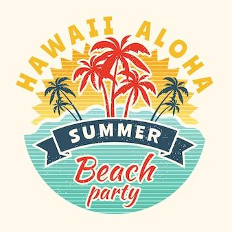 Poster van de zomertijd. vintage bordje met tropische illustratie.
