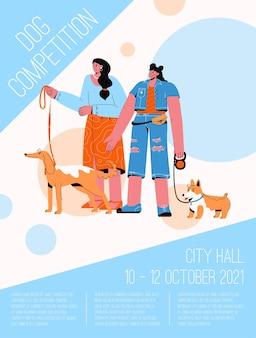 Poster van dog competition concept. tentoonstelling van huisdieren van verschillende rassen, sportevenement.
