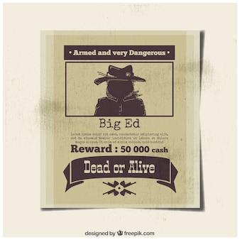 Poster van gevaarlijke misdadiger met beloning