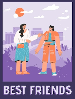 Poster van het beste vrienden-concept. vrolijke vrouwen die elkaar begroeten en een vriendelijk gesprek voeren.