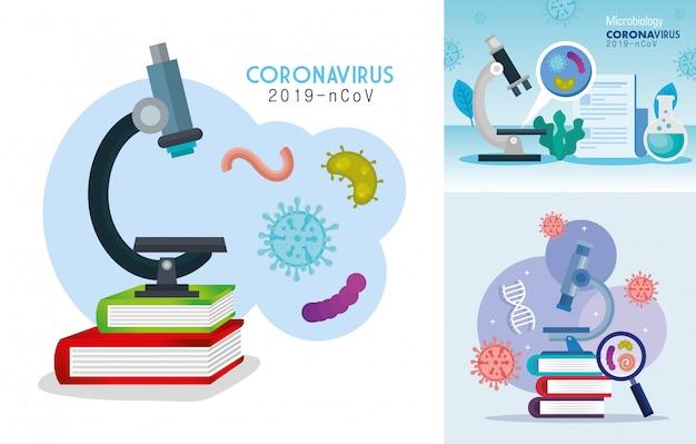 Poster van microbiologie voor covid 19 en medische pictogrammen instellen