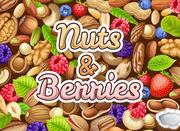 Poster van noten en bessen.