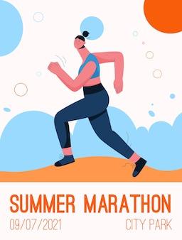 Poster van summer marathon at city park concept