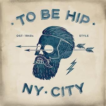Poster van vintage schedel hipster label.