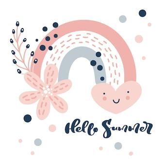Poster vector regenboog met hart en regen stippen in cartoon scandinavische stijl tekst hallo zomer en bloemen boeket