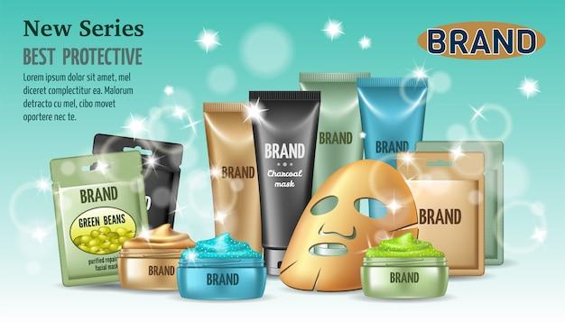Poster verschillende soorten gezichtsmaskers