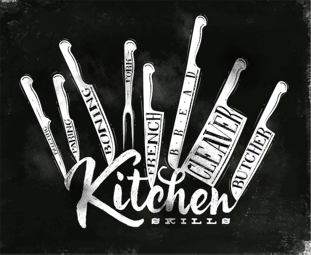 Poster vlees snijmessen slager