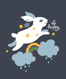Poster voor de kinderkamer met een konijntje