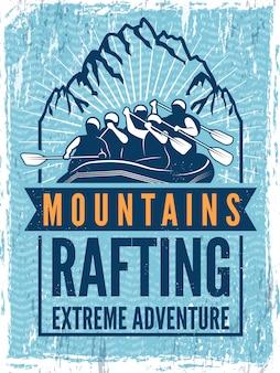 Poster voor extreme sportclub. kano of kajak op zee