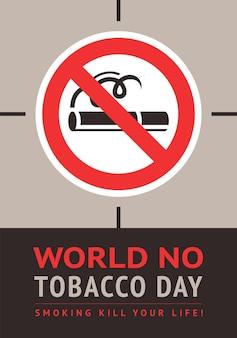 Poster werelddag zonder tabak, vectorillustratie om af te drukken