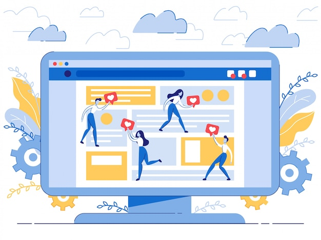 Poster zoals bot voor videoblogging cartoon flat