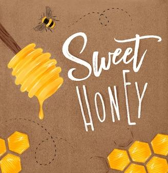 Poster zoete honing vaartuigen