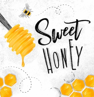Poster zoete honing