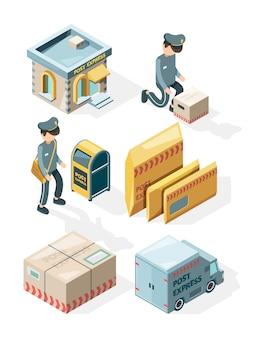 Posterijen. vrachtbezorging kantoor ansichtkaarten envelop brievenbus mail brieven isometrische illustraties