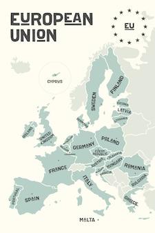 Posterkaart van de europese unie met landnamen