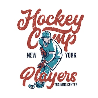 Posterontwerp hockeykamp new york spelers trainingscentrum met hockeyspeler vintage illustratie