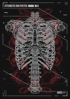 Posterontwerp menselijk lichaam met futuristische hud-elementen. hologram menselijke anatomie en skelet.