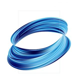 Posterontwerp met 3d blauwe gedraaide vorm van vloeistof of penseelstreek van verf op wit.