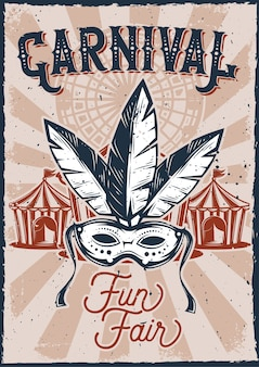 Posterontwerp met illustratie van een carnavalmasker en een tent