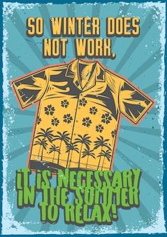 Posterontwerp met illustratie van een shirt op vintage achtergrond.
