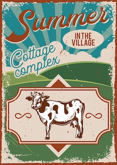 Posterontwerp met illustratie van reclame met een koe en een weiland