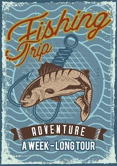Posterontwerp met illustratie van vis