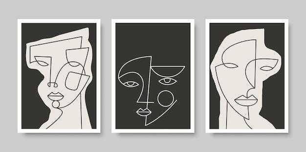 Posterontwerp met lijn surrealistisch abstract gezicht