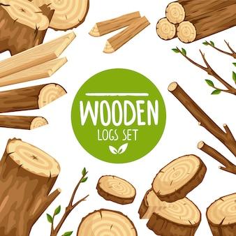 Posterontwerp met set van houten logboeken